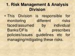 1 risk management analysis division