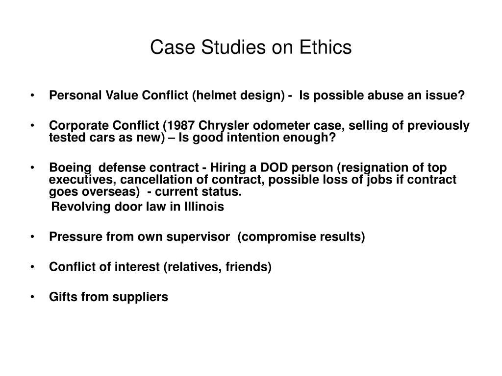 Case Studies on Ethics