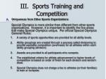 iii sports training and competition
