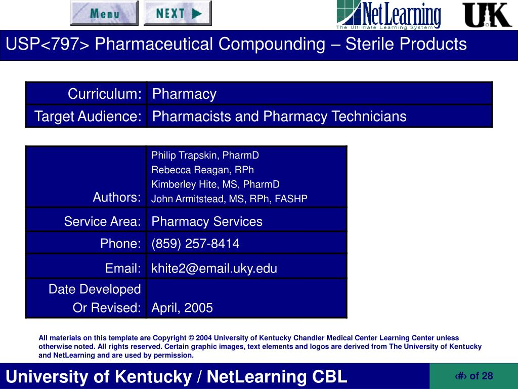 PPT - USP Pharmaceutical Compounding - Sterile Products