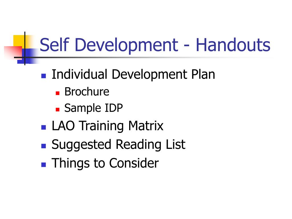 Self Development - Handouts