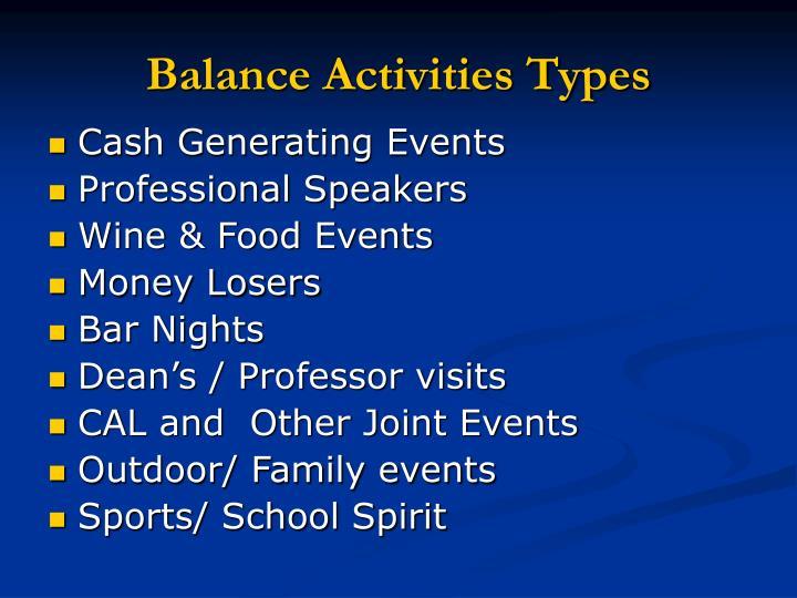 Balance activities types