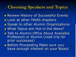 choosing speakers and topics
