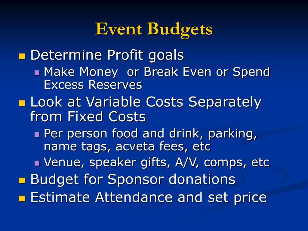 Event Budgets