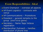event responsibilities ideal