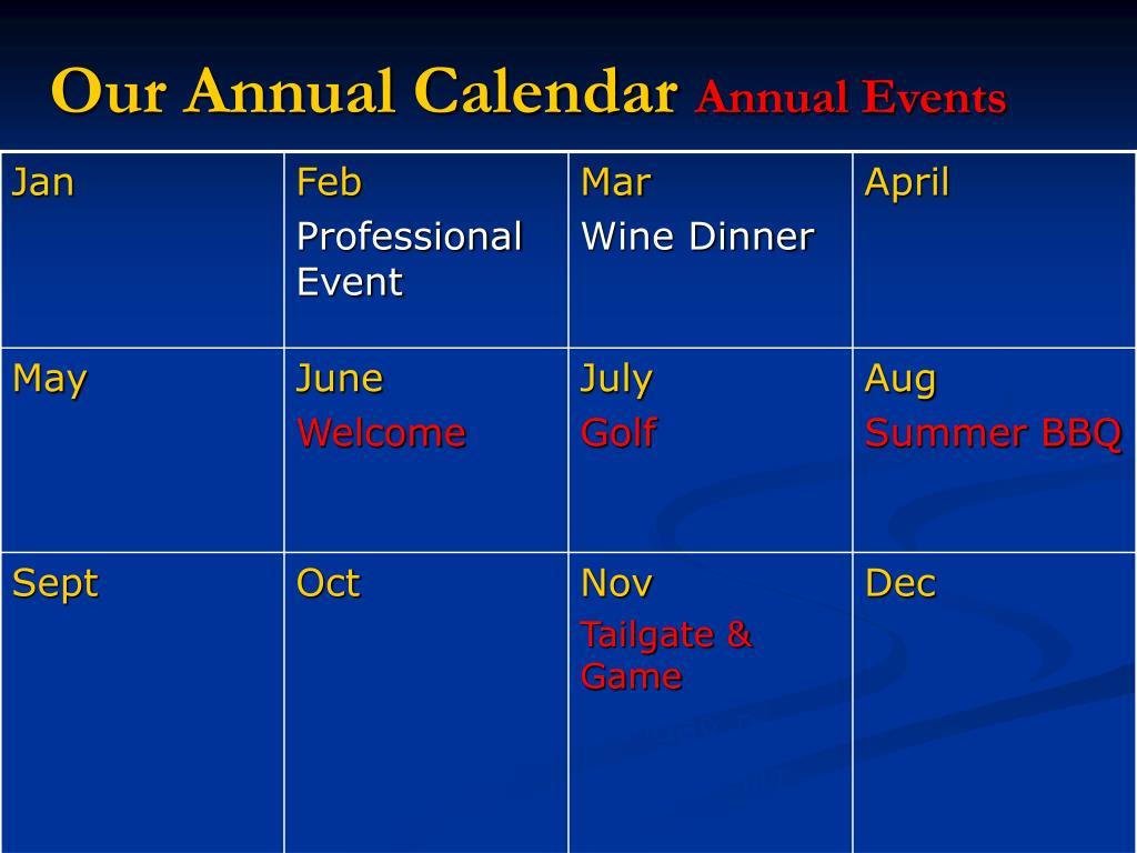 Our Annual Calendar