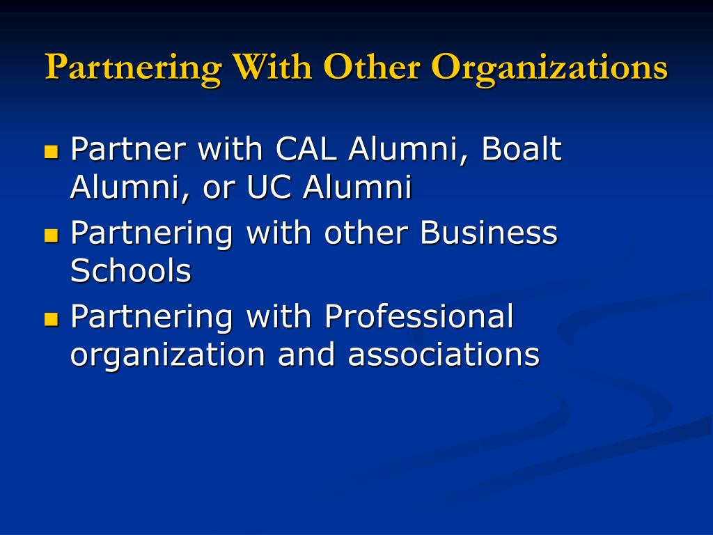 Partnering With Other Organizations