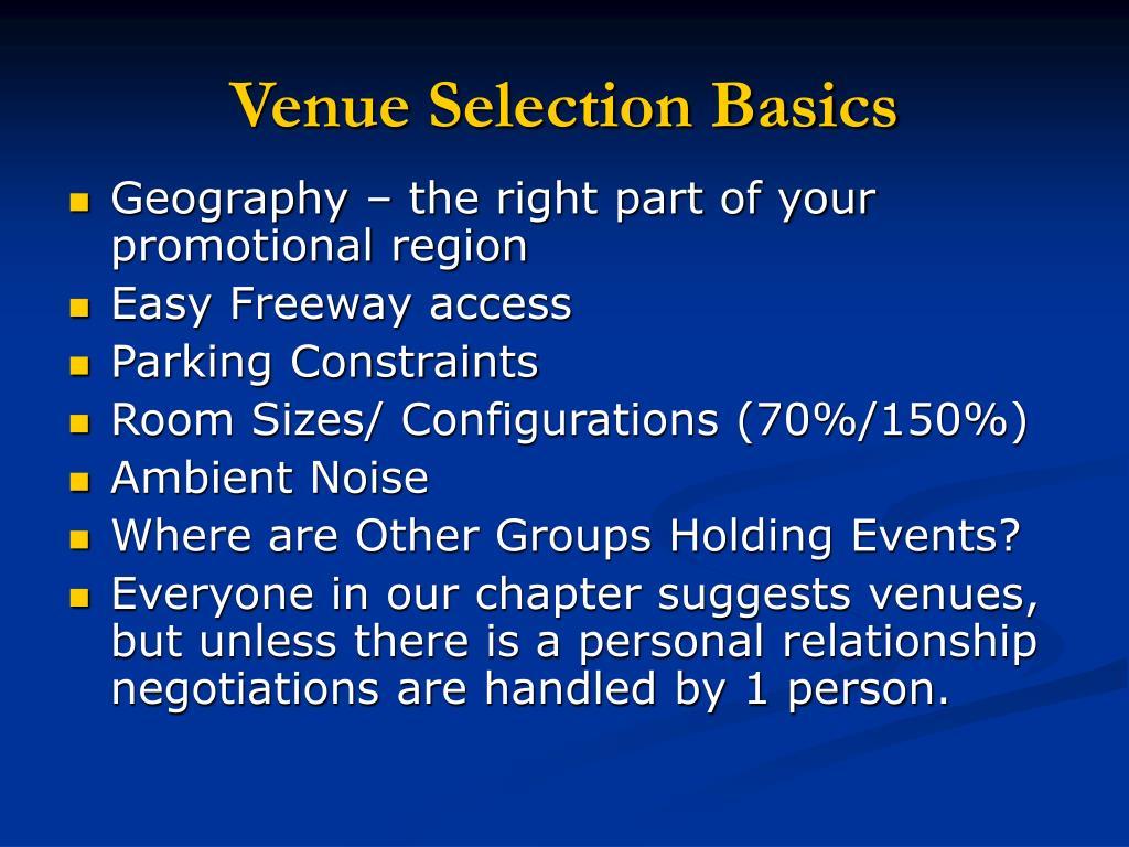 Venue Selection Basics