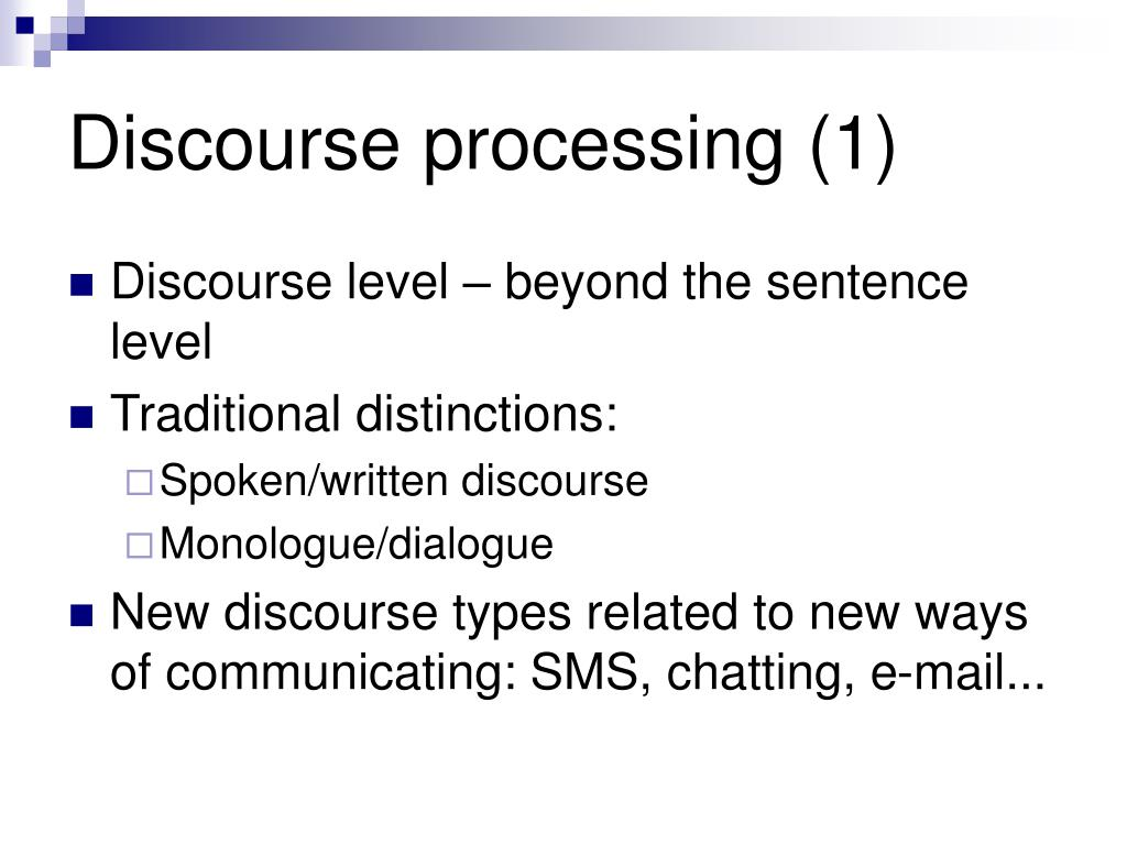 Discourse processing (1)