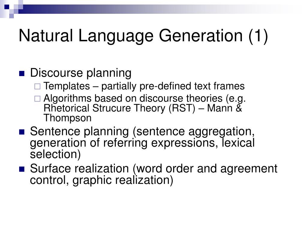 Natural Language Generation (1)