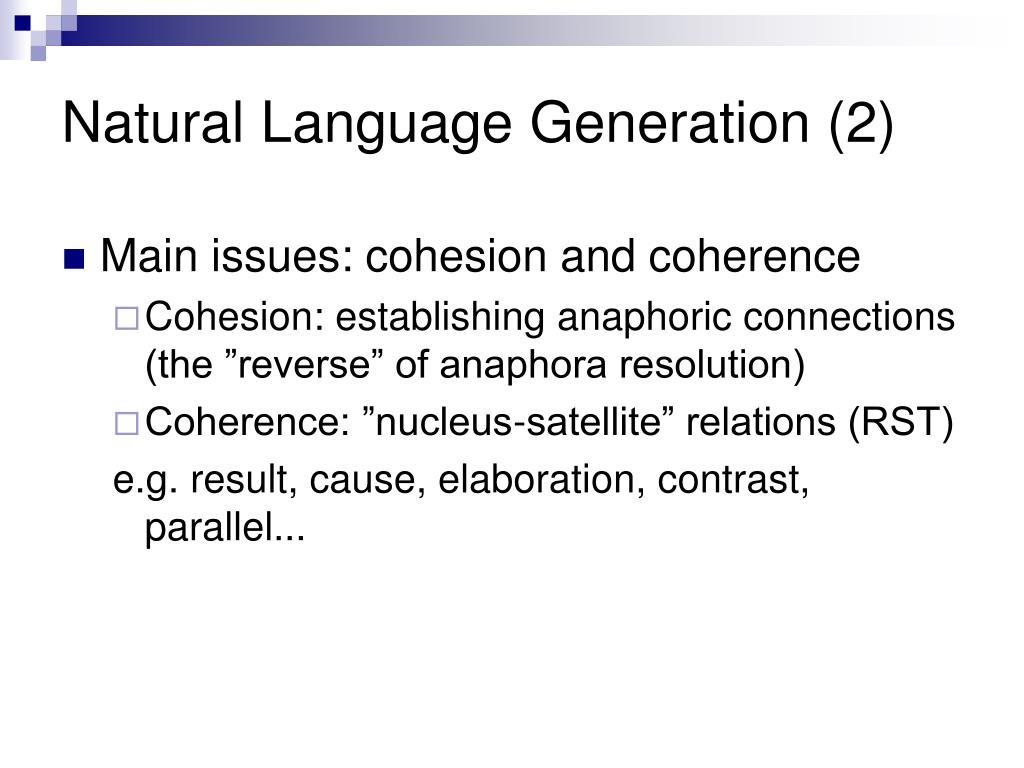 Natural Language Generation (2)