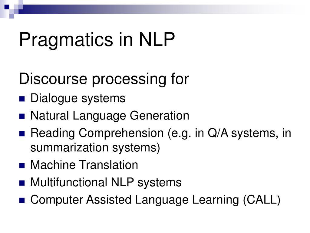 Pragmatics in NLP