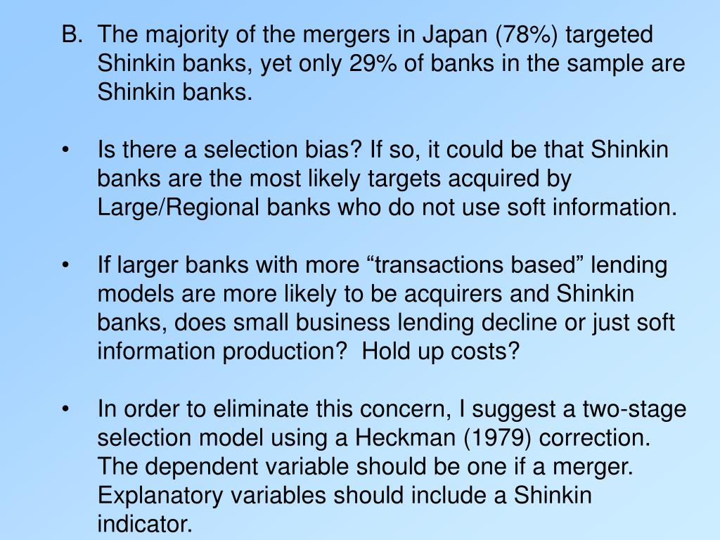 The majority of the mergers in Japan (78%) targeted Shinkin banks, yet only 29% of banks in the sample are Shinkin banks.
