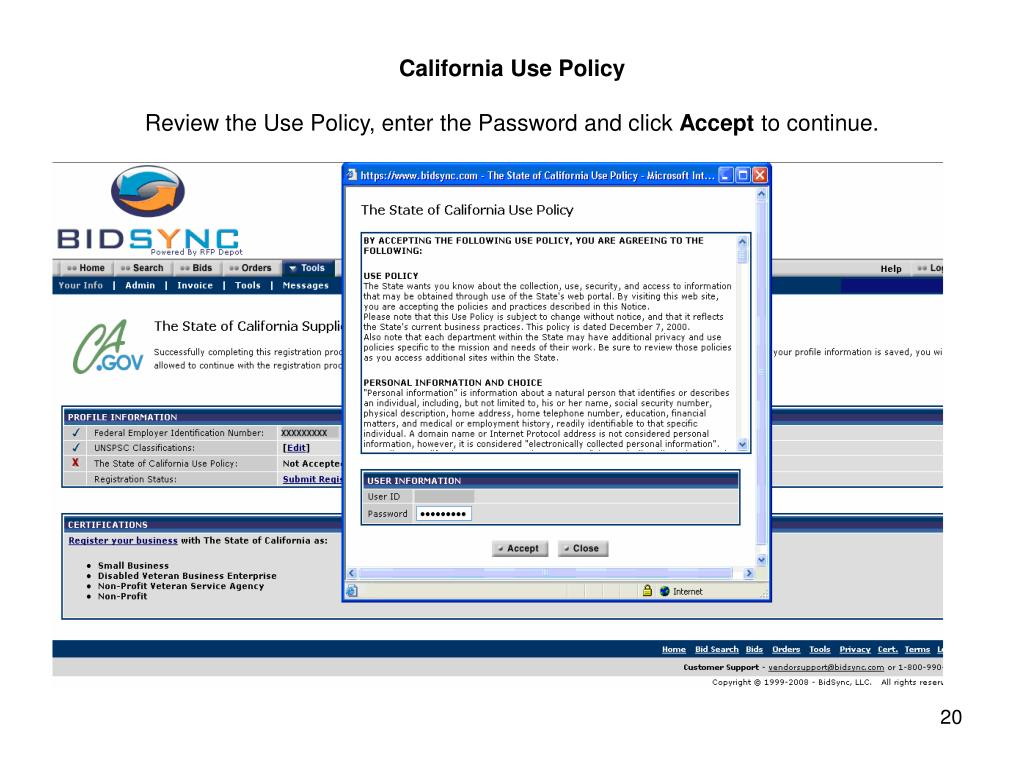 California Use Policy