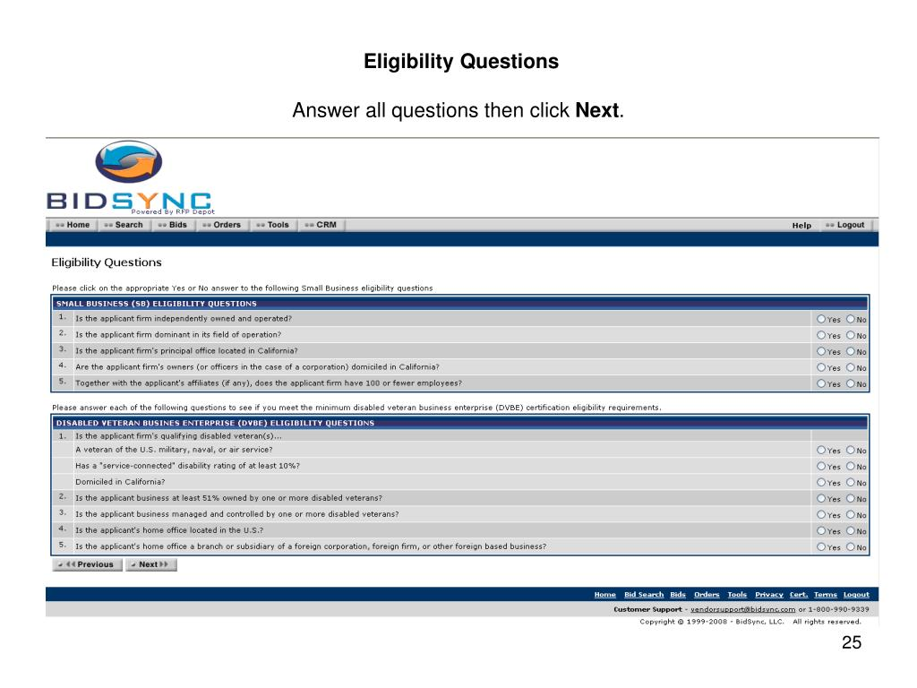 Eligibility Questions
