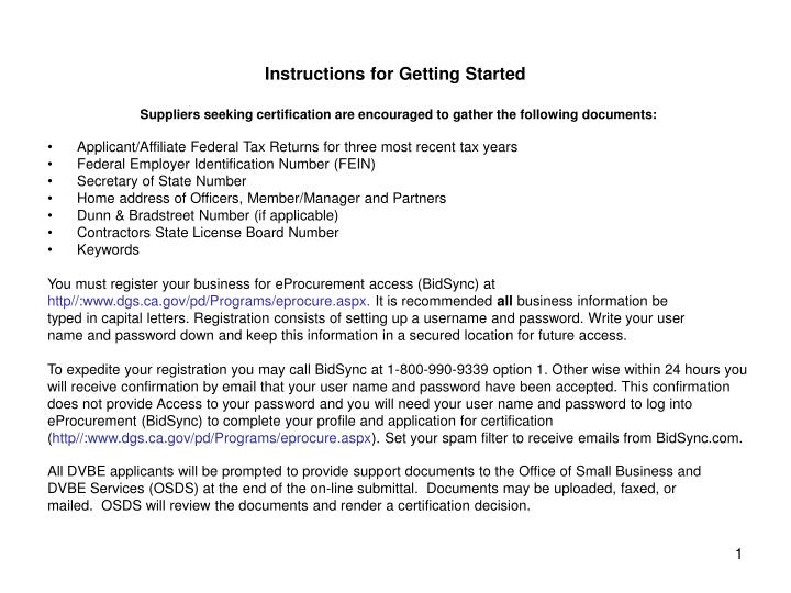 Instructions for getting started
