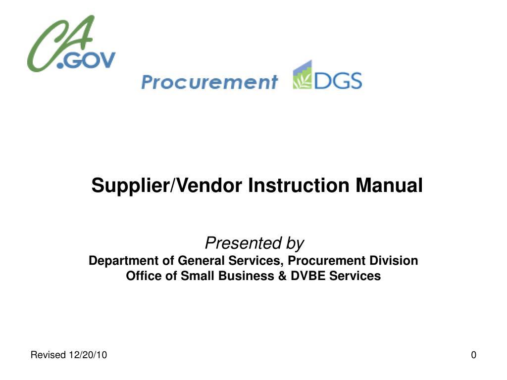 Supplier/Vendor Instruction Manual