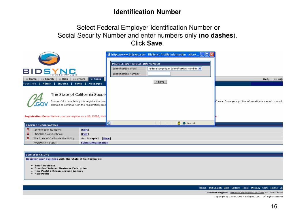 Identification Number