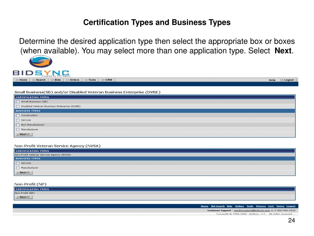 Certification Types and Business Types