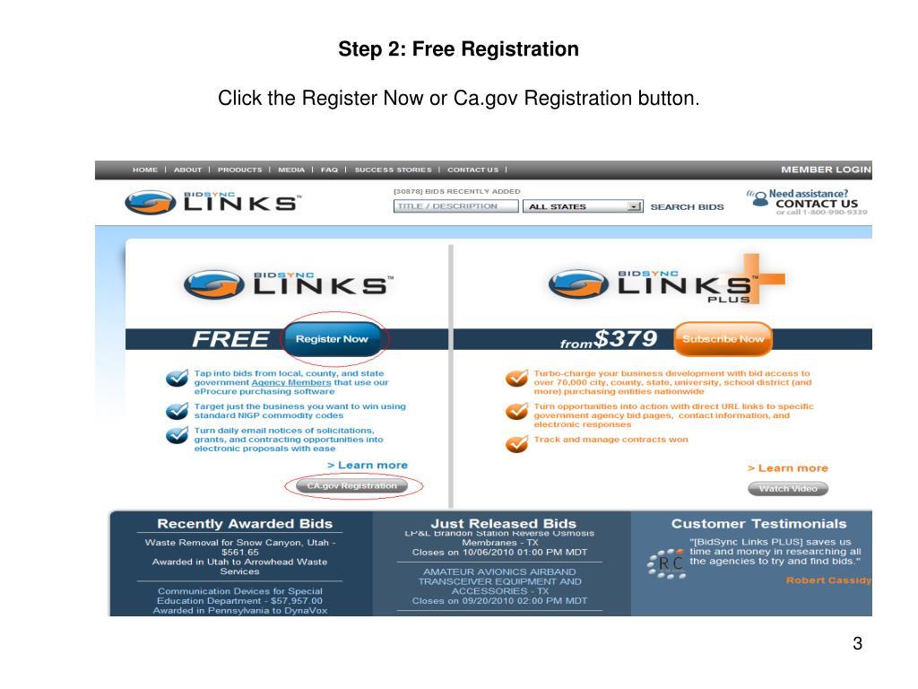 Step 2: Free Registration