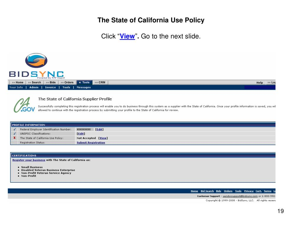 The State of California Use Policy