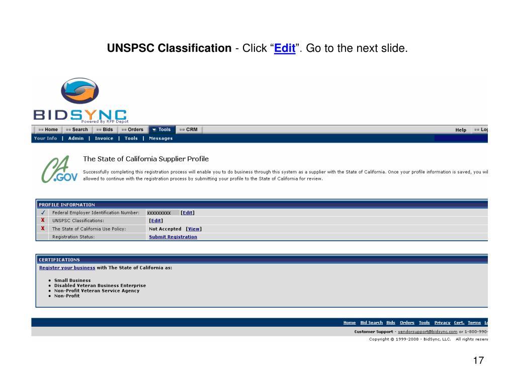 UNSPSC Classification