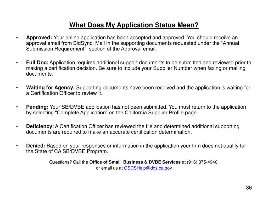 What Does My Application Status Mean?