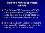 defense far supplement dfars