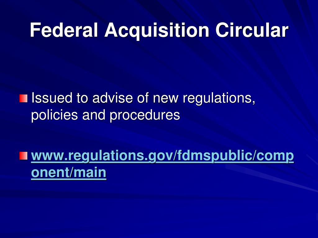 Federal Acquisition Circular