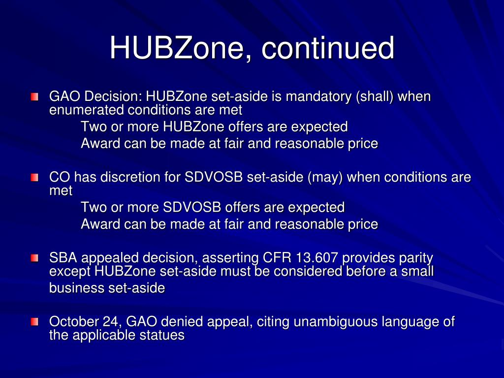 HUBZone, continued