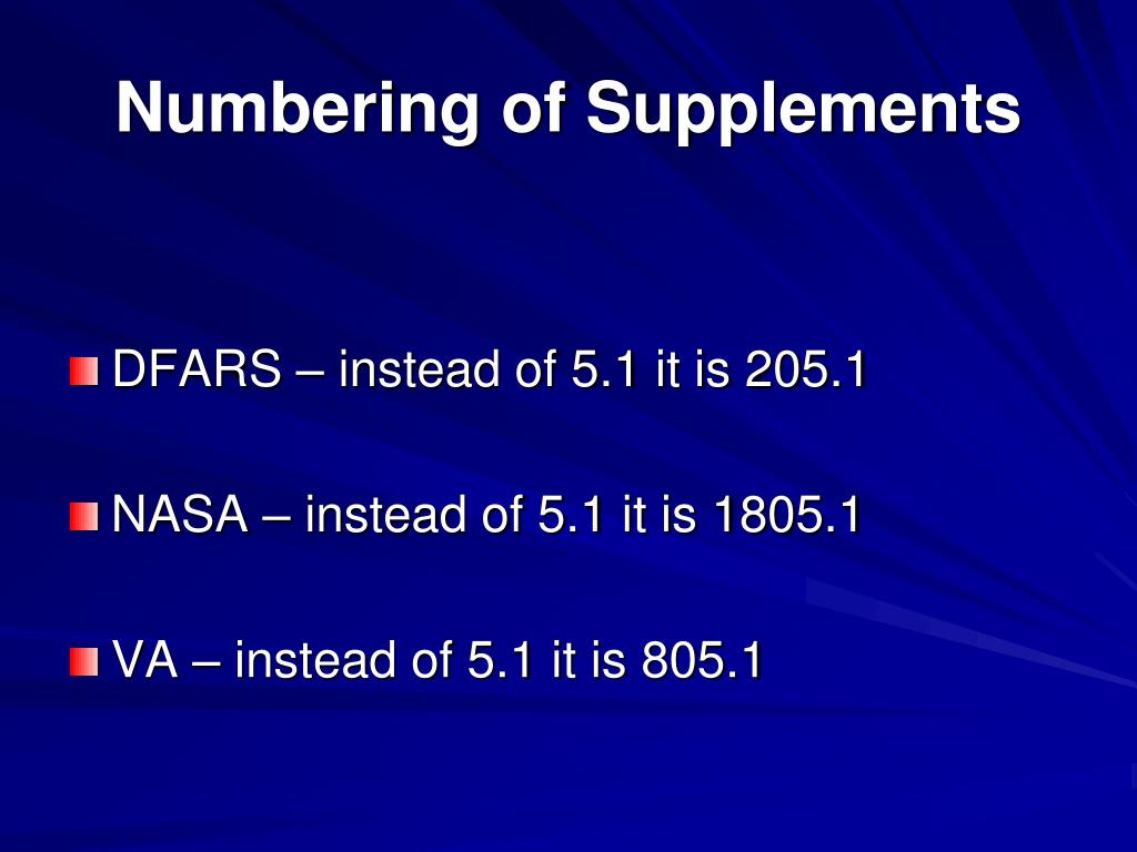 Numbering of Supplements