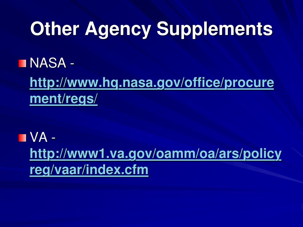 Other Agency Supplements