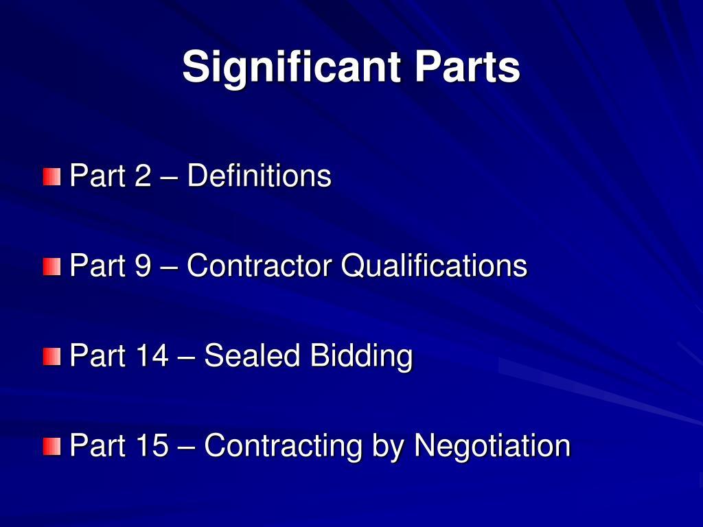 Significant Parts