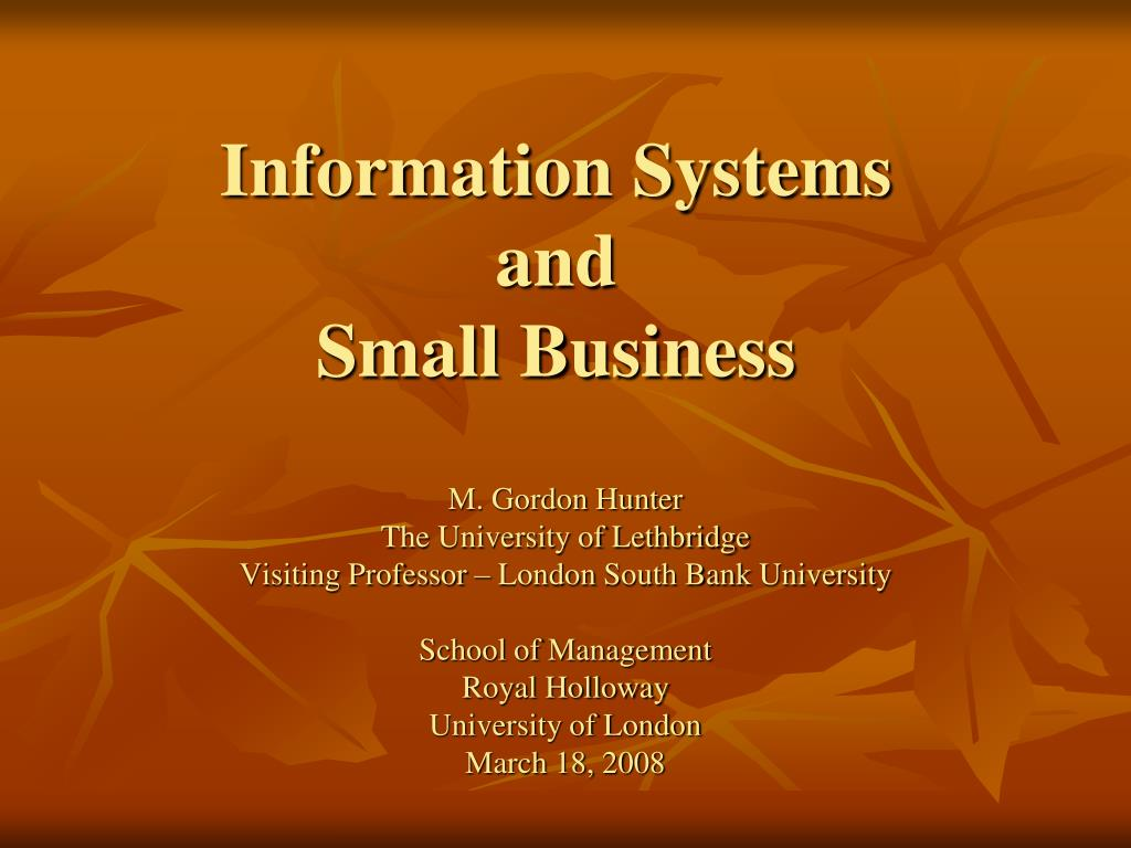 information systems and small business l.