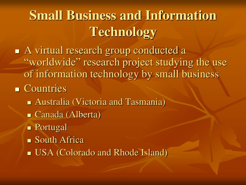 Small Business and Information Technology