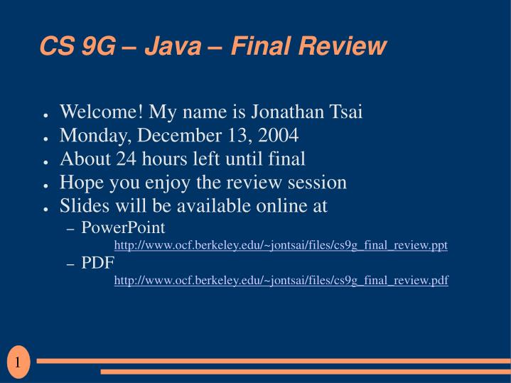 cs 9g java final review n.