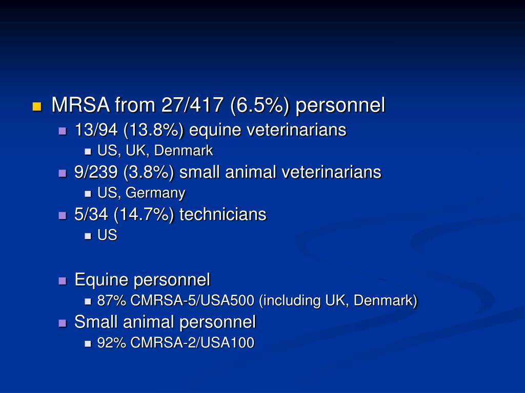 MRSA from 27/417 (6.5%) personnel