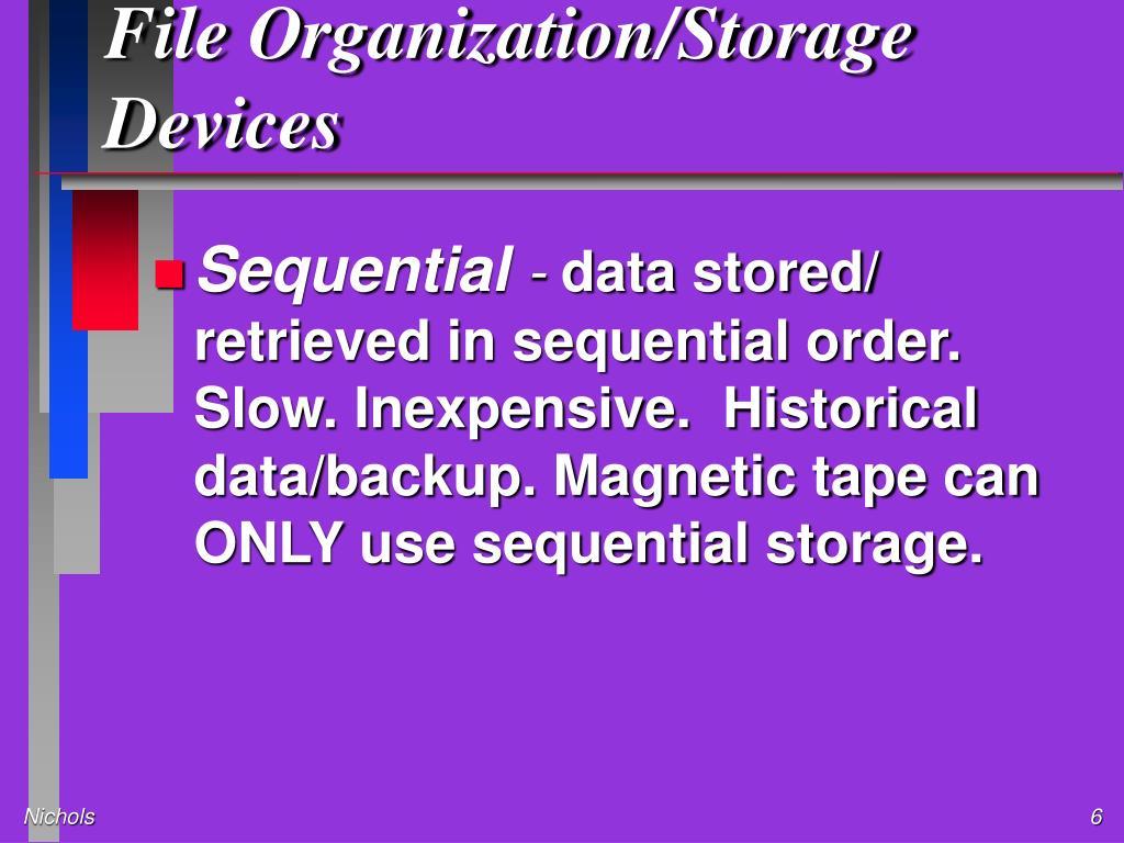 File Organization/Storage Devices