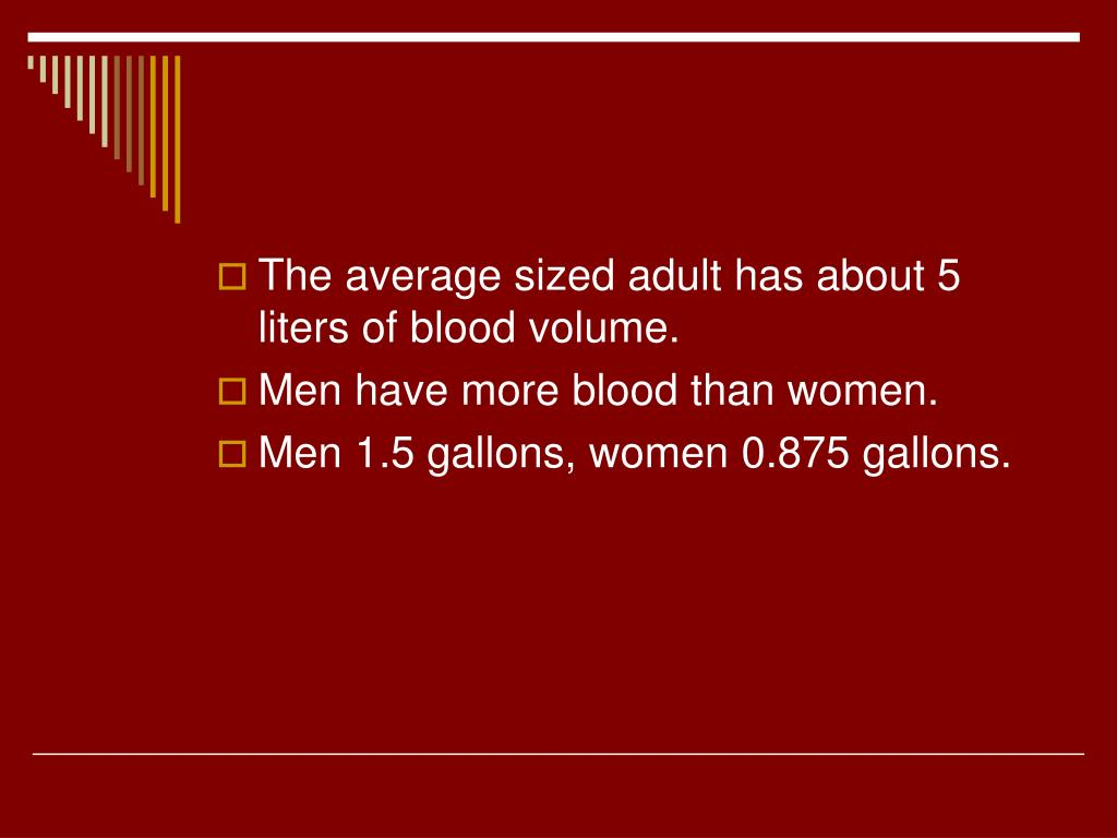 The average sized adult has about 5 liters of blood volume.