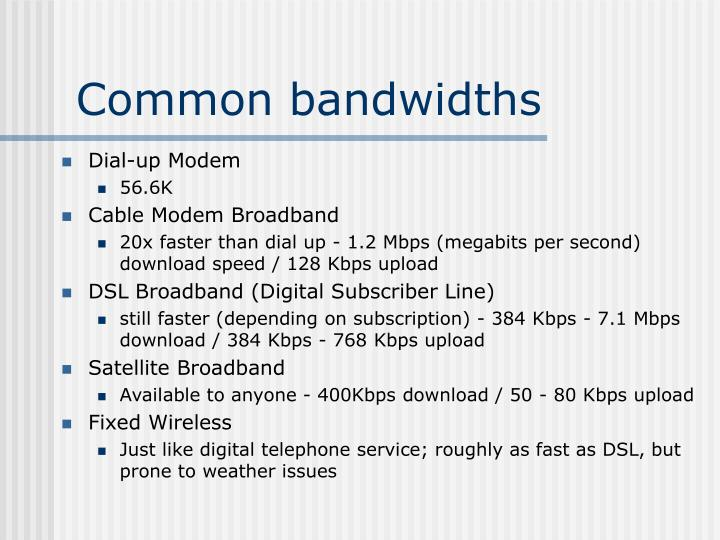 Common bandwidths