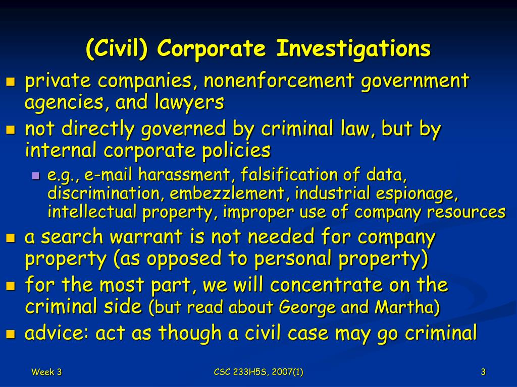 (Civil) Corporate Investigations