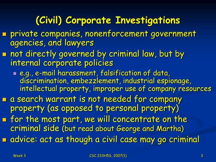 Civil corporate investigations
