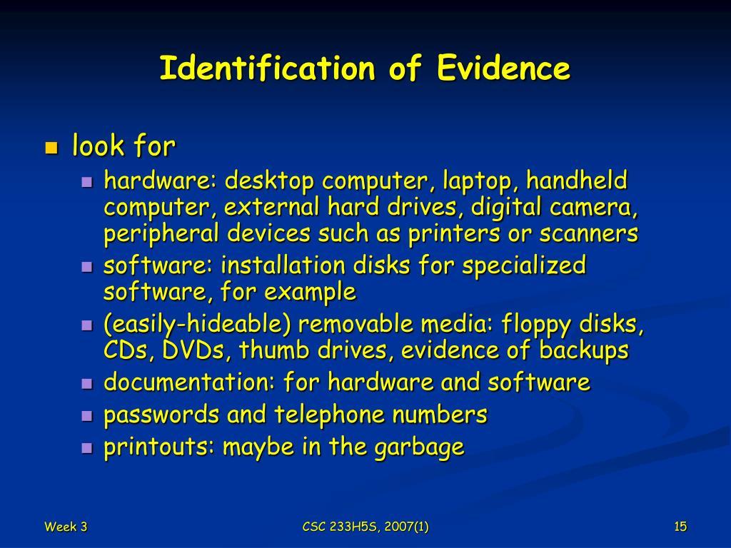 Identification of Evidence