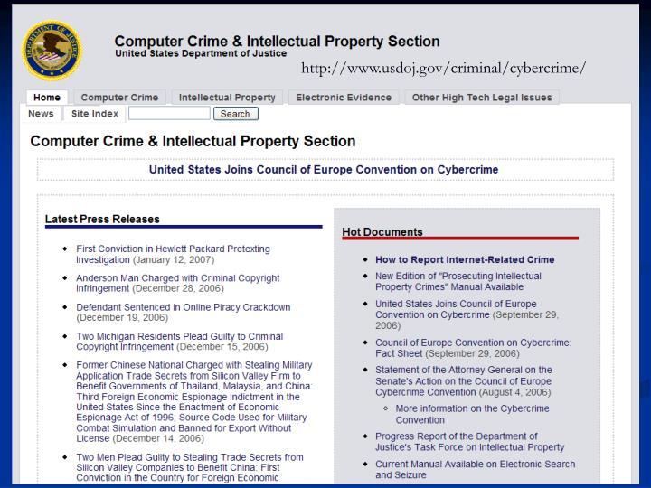Http://www.usdoj.gov/criminal/cybercrime/