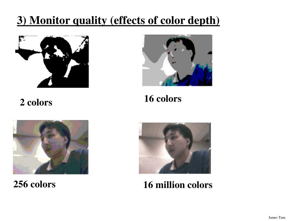 3) Monitor quality (effects of color depth)
