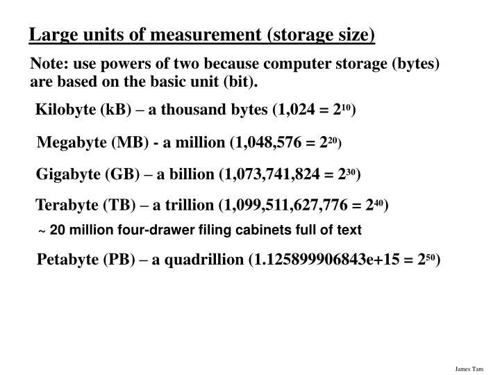 Large units of measurement storage size