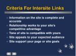 criteria for intersite links
