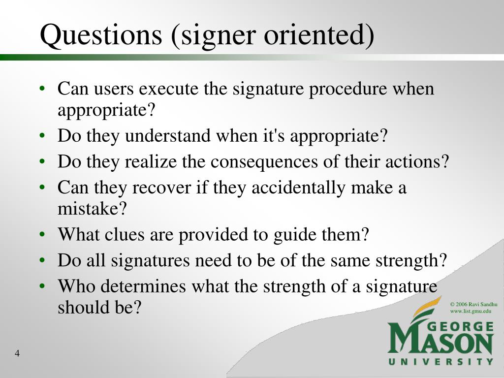 Questions (signer oriented)