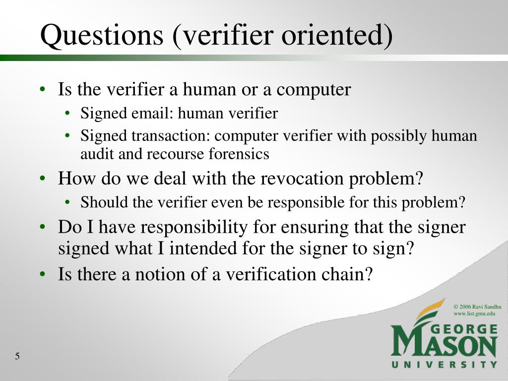 Questions (verifier oriented)