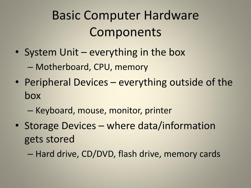 Basic Computer Hardware Components